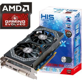 2GB HIS Radeon R9 270 iPower IceQ X2 Turbo Boost Clock Aktiv PCIe 3.0 x16 (Retail)
