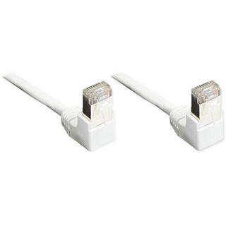 (€15,60*/1m) 0.25m Good Connections Cat. 5e Patchkabel F/UTP RJ45 Stecker auf RJ45 Stecker Weiß 90° gewinkelt