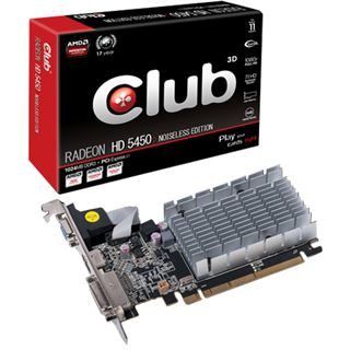 1GB Club 3D Radeon HD 5450 Noiseless Edition Low Profile Passiv PCIe 2.1 x16 (Retail)