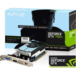 2048MB KFA2 GeForce GTX 750 Ti OC Low Profile Aktiv PCIe 3.0 x16 (Retail)