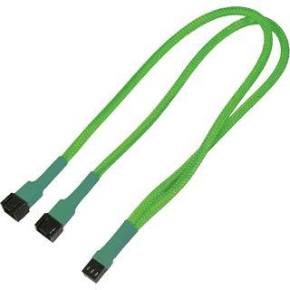Nanoxia 30 cm sleeved neon grünes Y-Kabel für 3-Pin Molex (NX3PY30NG)