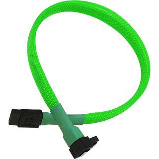 Nanoxia 30 cm sleeved abgewinkeltes neon grünes Verbindungskabel für SATA 3.0 (NXS6G30NG)