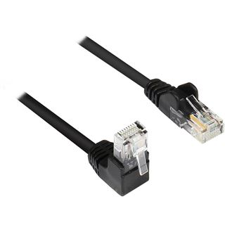 2.00m Good Connections Cat. 5e Patchkabel U/UTP RJ45 Stecker auf RJ45 Stecker Schwarz 90° gewinkelt