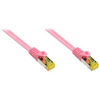 (€9,80*/1m) 0.50m Good Connections Cat. 7 Patchkabel S/FTP PiMF RJ45 Stecker auf RJ45 Stecker Magenta halogenfrei