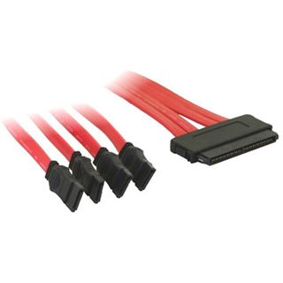 0.50m Good Connections SAS 6Gb/s Anschlusskabel SFF-8484 Stecker auf 4xSATA Stecker Rot
