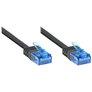 1.50m Good Connections Cat. 6a Patchkabel flach U/UTP RJ45 Stecker auf RJ45 Stecker Schwarz vergoldet