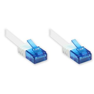 (€0,79*/1m) 10.00m Good Connections Cat. 6a Patchkabel flach U/UTP RJ45 Stecker auf RJ45 Stecker Weiß Knickschutzelement/vergoldet