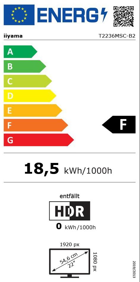 "21,5"" (54,61cm) iiyama T2236MSC-B2 Touch schwarz 1920x1080 1xDVI/1xHDMI 1.3/1xVGA"