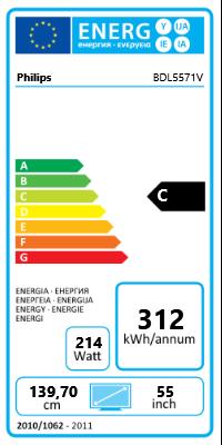 "55"" (139,70cm) Philips Public Signage BDL5571V schwarz 1920x1080 1xHDMI 1.3/1xKomponenten (YUV)/1xVGA/1xDVI/1xDP"