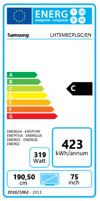 "75"" (190,50cm) Samsung ME75C schwarz 1920x1080 2xHDMI 1.3/1xVGA/1xDVI/Component-Eingang (Y/Pb/Pr) /DisplayPort 1.2"